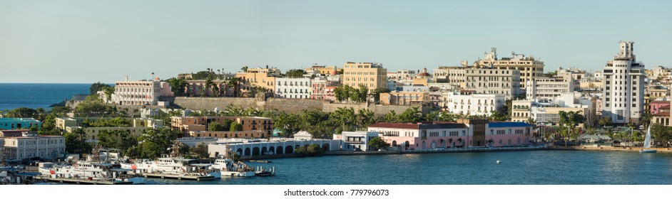 The city of old San Juan, Puerto Rico, and waterfront.