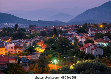 City of Oludeniz during sunset, Fethiye region of Turkey