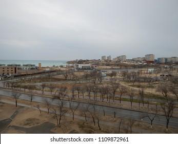 City on the shore of the Caspian Sea. Aktau. Kazakhstan.