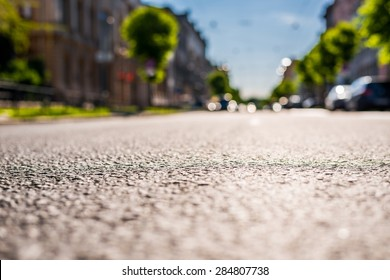 City on a sunny day, a quiet street with trees and cars. View from the level of asphalt