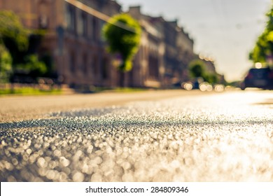 City on a sunny day, a quiet street after rain with trees and cars. View from the level of asphalt, image in the yellow-blue toning