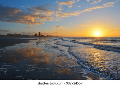 The city of Oostende at sunset, Belgium.