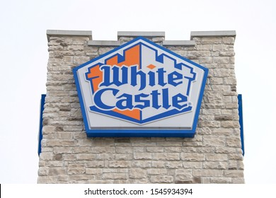 City of Orange, NJ - Oct 26, 2019: White Castle fast food close up on sign. White Castle is a fast food restaurant chain that is generally credited as the first fast food chain in the United States.
