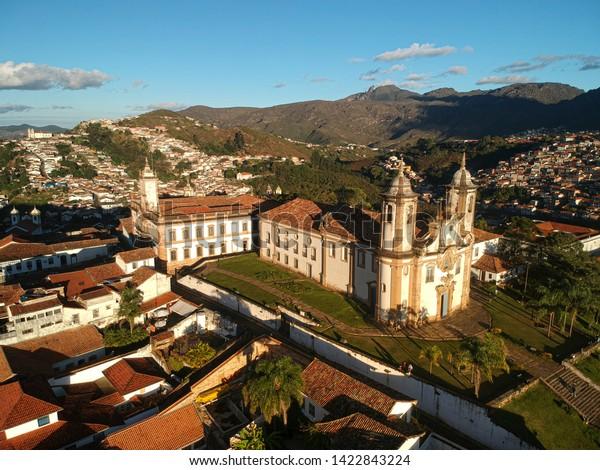 city landscape Ouro Preto, Brazil - MG, historic Brazilian city. Aerial view.