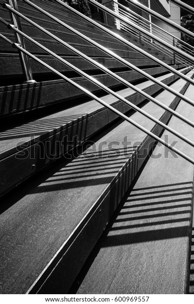 City outdoor stairs.light and shadow. black and white