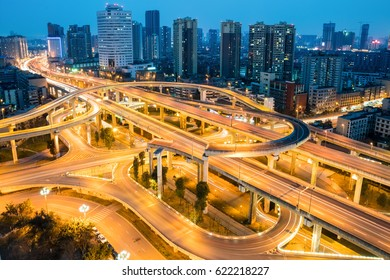city overpass at night, flyover or viaduct in chengdu