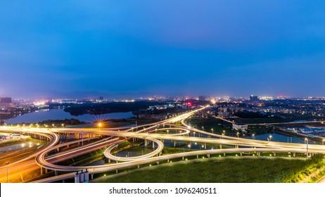 City overpass night view
