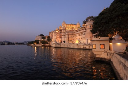 City Palace and Lake Pichola right after sunset in Udaipur, Rajasthan, India