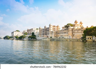 City Palace at the Pichola Lake  in Udaipur, Rajasthan, India