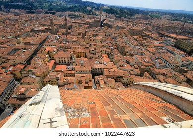 City panorama, aerila view, Florence, Tuscany, Italy; roofs, buildings, dome and towers.