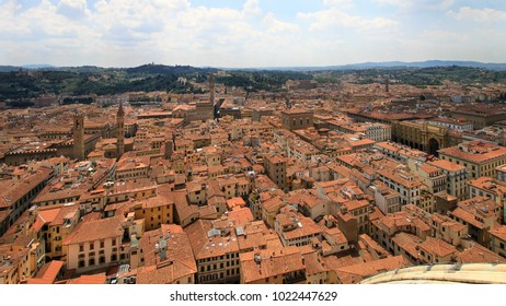 City panorama, aerila view, Florence, Tuscany, Italy; roofs, buildings and towers.