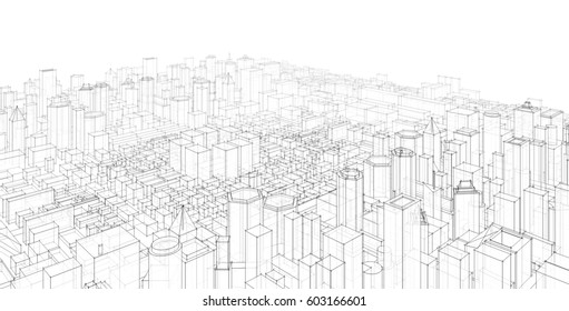 city, panorama, architecture abstract, 3d illustration