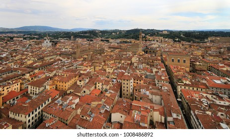 City panorama, bird's eye view, Florence, Tuscany, Italy; roofs, buildings and towers.