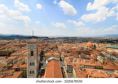 City panorama, bird's eye view, Florence, Tuscany, Italy; roofs, buildings, dome and tower.