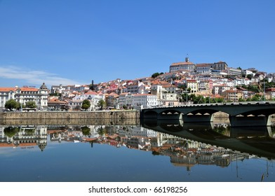 City panorama of Coimbra, Portugal and the river Mondego