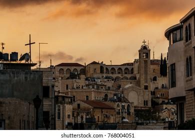 City panorama of evening Bethlehem. Holy Land