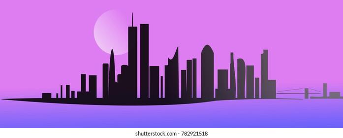 City panorama on night sky background. Simple design illustration.