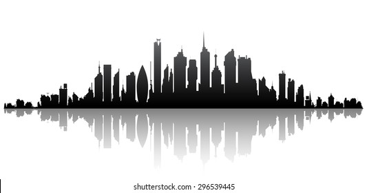 City panorama on a white background with reflection
