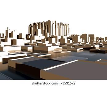 city panorama under the sea