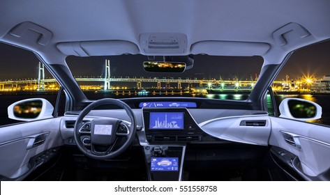city panorama view looking form empty car cockpit, various screens and heads up displays