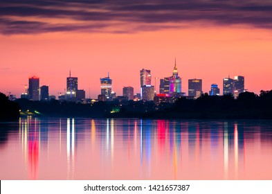 City panorama, Warsaw skyline, Warsaw skyscrapers, City of Warsaw skyline at sunset in Poland, Warsaw Panorama