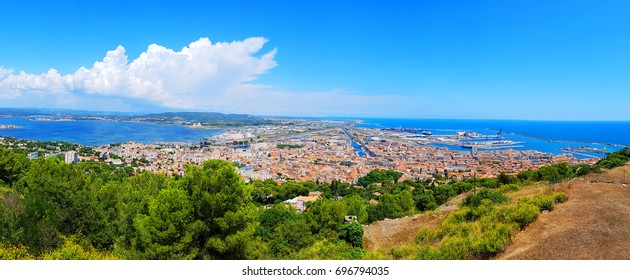 Sète city panoramic view from the St Clair mount