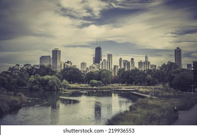 City park against Chicago Downtown skyline - vintage look