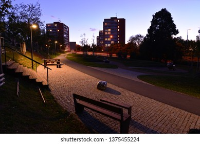 An city park at night.