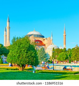 City park on Sultanahmet square near The Hagia Sophia in Istanbul, Turkey