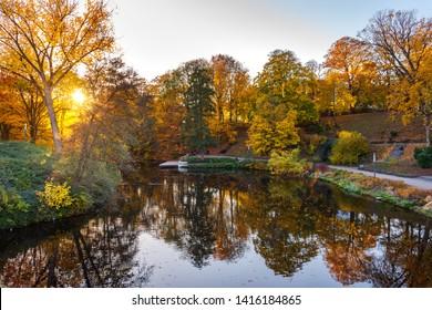 City park Planten un Blomen at autumn in Hamburg. Germany