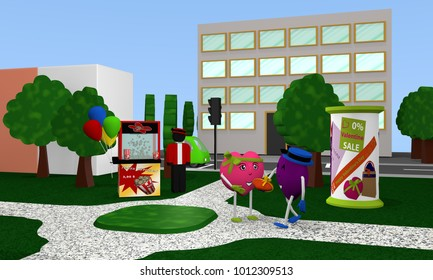 City park to Valentin with popcorn seller and funny Valentine hearts. 3d rendering