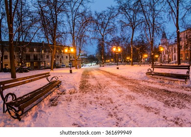 city park in winter at night