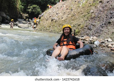 City of Pasuruan, East Java - Indonesia. June 9, 2019. Rafting on the Tretes River and testing adrenaline