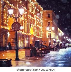 city pedestrian street night city lights