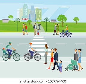 City with pedestrians and cyclists, Illustration