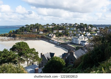 City of Perros-Guirec in northern France with fine white beach.