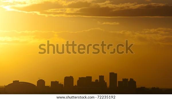 The city of Phoenix, AZ at sunset