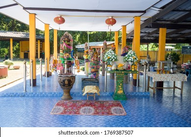 The City Pillar Shrine in the town of Tak in the Province of Tak in Thailand.   Thailand, Tak, November, 2019