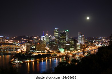 City of Pittsburgh at Night with Full Moon