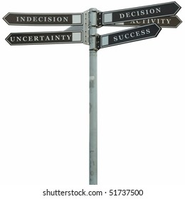 city pointer with decision and indecision options