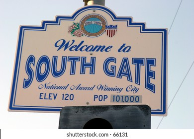 city population sign for the city of southgate