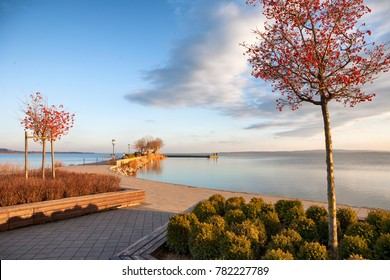 City port in Keszthely at Lake Balaton in winter in Hungary