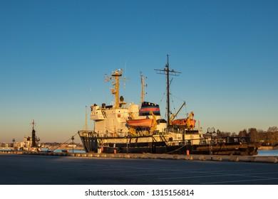 City port in the morning time in Rostock, Germany.