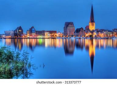 City port of Rostock by night (Mecklenburg-Vorpommern, Germany)