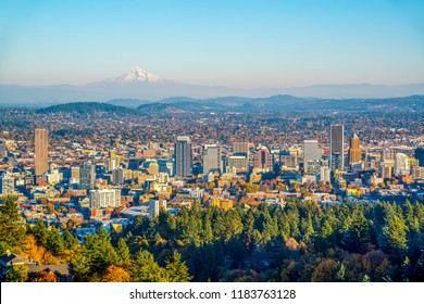 City of Portland Oregon and Mount Hood in Autumn, Oregon-USA