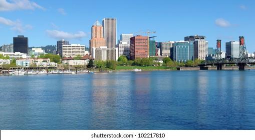 City of Portland Oregon skyline panorama.
