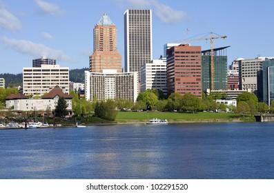 City of Portland Oregon skyline in Spring.