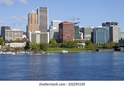 City of Portland Oregon skyline in Spring.