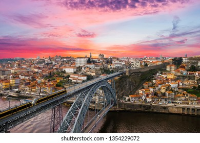 City of Porto with Dom Luis I bridge at sunset from above, Portugal