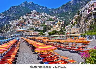 City of Positano on Amalfi coast in the province of Salerno, Campania, Italy